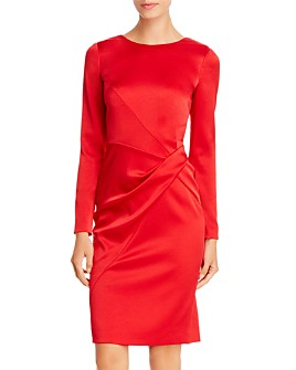 PAULE KA - Draped Twist-Detail Satin Dress
