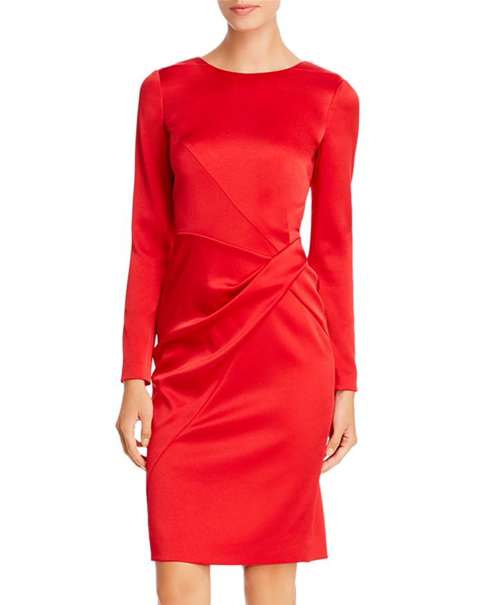 PAULE KA - Draped Twist-Detail Satin Dress