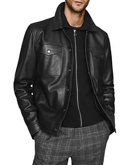 REISS - Ronnie Leather Trucker Jacket
