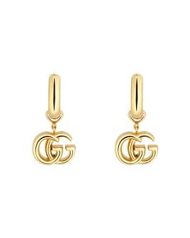 Gucci - 18K Yellow Gold Running GG Logo Huggie Hoop Earrings