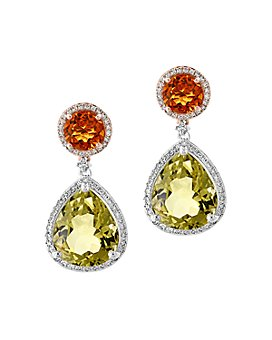 Bloomingdale's - Citrine, Quartz & Diamond Drop Earrings in 14K Rose & White Gold - 100% Exclusive
