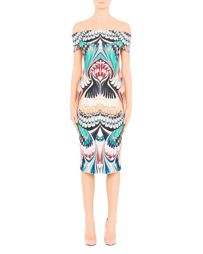 Mary Katrantzou Ireson Printed Off-The-Shoulder Midi Dress In Marble Print