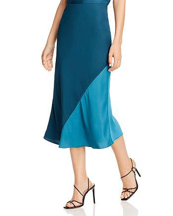 Rebecca Taylor - Color-Blocked Satin Midi Skirt