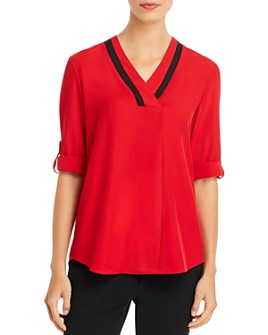 Calvin Klein - Contrast-Trim V-Neck Top