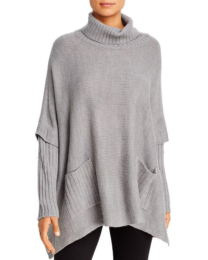 Alison Andrews Turtleneck Poncho Sweater In Heather Gray