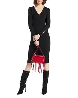 PAULE KA - Ribbed Button-Detail Wool Midi Dress