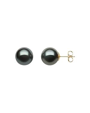 Bloomingdale's Tahitian Black Pearl Stud Earrings in 14K Yellow Gold - 100% Exclusive