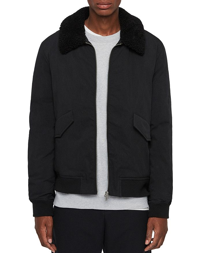 Allsaints Conway Shearling Collared Jacket In Black