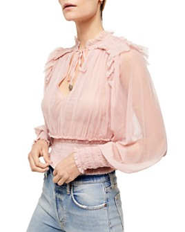 Free People - Twyla Smocked Mesh Top