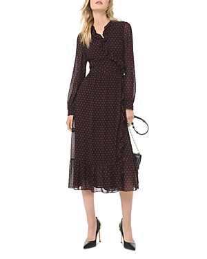 Michael Michael Kors Polka Dot Georgette Wrap Dress