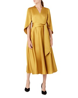 HOBBS LONDON - Rosa Satin Fit-and-Flare Dress