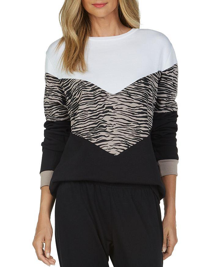Michael Lauren Lyric Color-Block Sweatshirt In Black/White