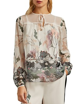 Ted Baker - Veriity Willow Botanical Print Tie Neck Top
