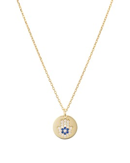 "AQUA - Hamsa Disc Pendant Necklace in Sterling Silver or Gold-Plated Sterling Silver, 16""-18"" - 100% Exclusive"