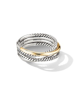 David Yurman - Sterling Silver & 18K Yellow Gold Crossover Narrow Ring