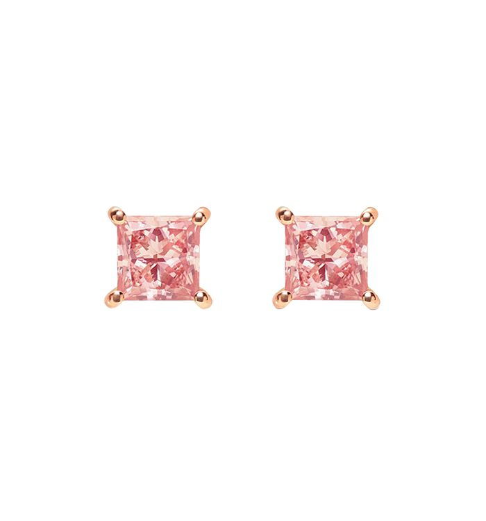 Lightbox Jewelry Pink Princess Lab-grown Diamond Stud Earrings In Rose Gold-plated Sterling Silver