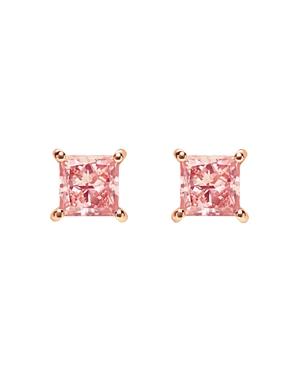 Pink Princess Lab-Grown Diamond Stud Earrings in Rose Gold-Plated Sterling Silver