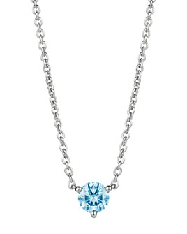 """Lightbox Jewelry - Solitaire Lab-Created Diamond Pendant Necklace in Sterling Silver, 18"""""""