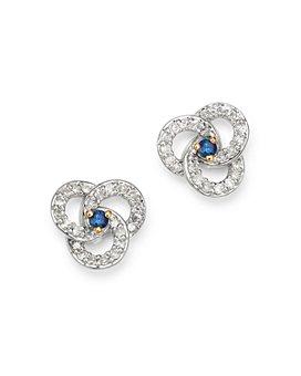 Adina Reyter - 14K Yellow Gold Diamond & Sapphire Petals Stud Earrings