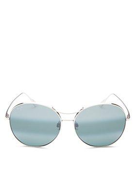 Maui Jim - Women's Opihi Polarized Brow Bar Round Sunglasses, 61mm