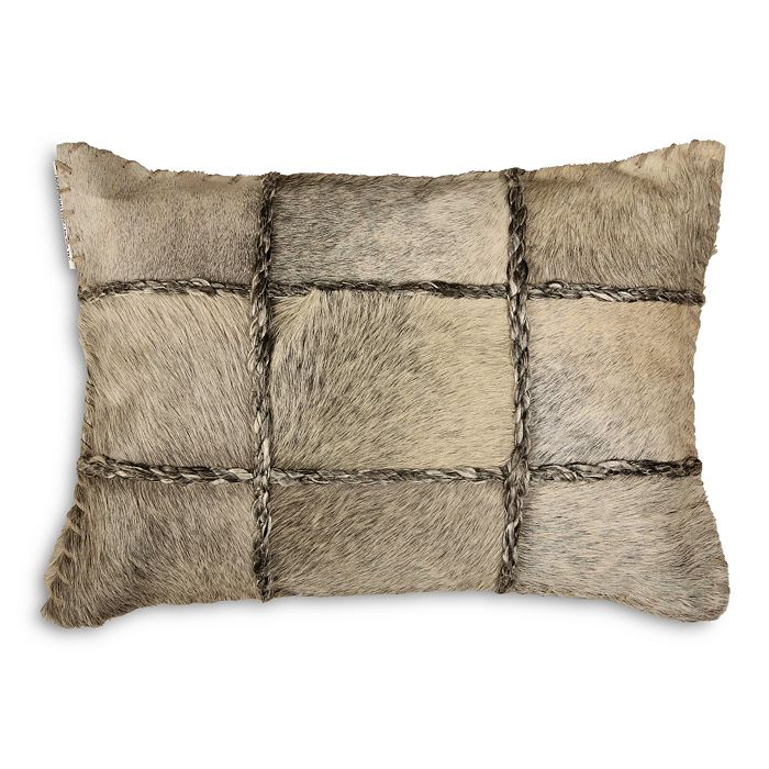 "Ren-Wil - Francia Natural Beige Cow Hair on Leather Decorative Pillow, 20"" x 13"""