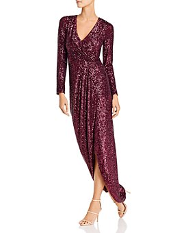 AQUA - Sequin Faux-Wrap Gown - 100% Exclusive