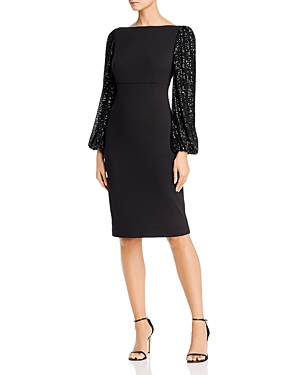 Eliza J Sequin Balloon-Sleeve Sheath Dress-Women