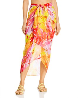 Echo - Cutout Floral Pareo Swim Cover-Up