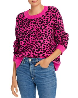 AQUA - Leopard Jacquard Crewneck Sweater - 100% Exclusive