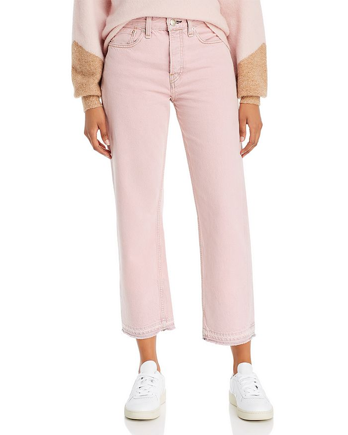 rag & bone - Maya High-Rise Ankle Straight-Leg Jeans in Shadow Pink