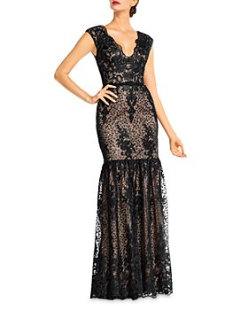 Aidan Mattox - Embroidered Floral Lace Illusion Gown