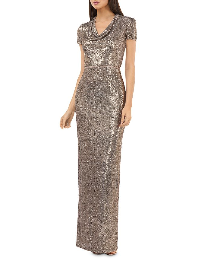 JS Collections - Cowl-Neck Sequin Gown