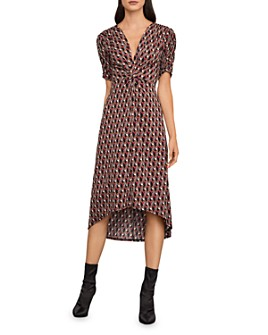 BCBGMAXAZRIA - Twist-Front Geometric Print Midi Dress
