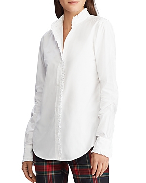 Ralph Lauren T-shirts LAUREN RALPH LAUREN RUFFLED BUTTON-DOWN SHIRT