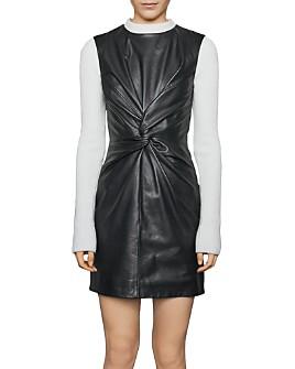 Maje - Rokane Twist-Detail Leather Mini Dress