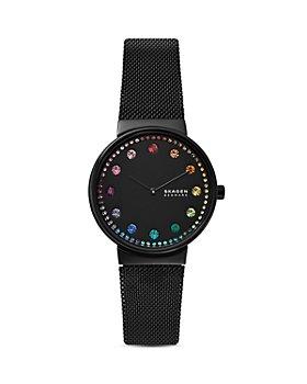 Skagen - Annelie Rainbow-Accented Black Dial Watch, 34mm