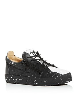 Giuseppe Zanotti - Men's Paint Splatter Embossed Double Zip Low-Top Sneakers