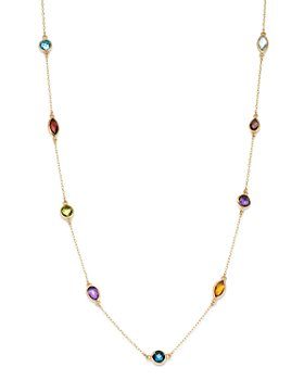 """Bloomingdale's - Rainbow Gemstone Station Necklace in 14K Yellow Gold, 18"""" - 100% Exclusive"""