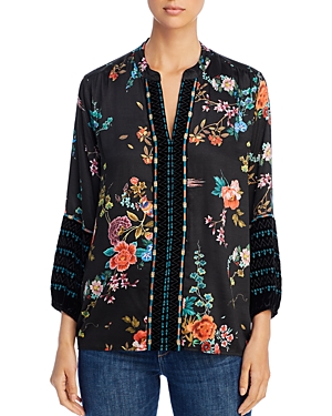 Johnny Was Tops PARIS EFFORTLESS EMBROIDERED PEASANT BLOUSE