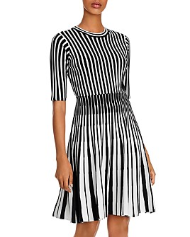 nanette Nanette Lepore - Striped Fit and Flare Knit Dress