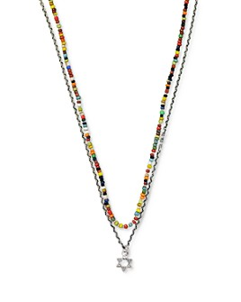 """Jan Leslie - Sterling Silver Star of David Charm & African Stone Beaded Necklace, 28"""""""