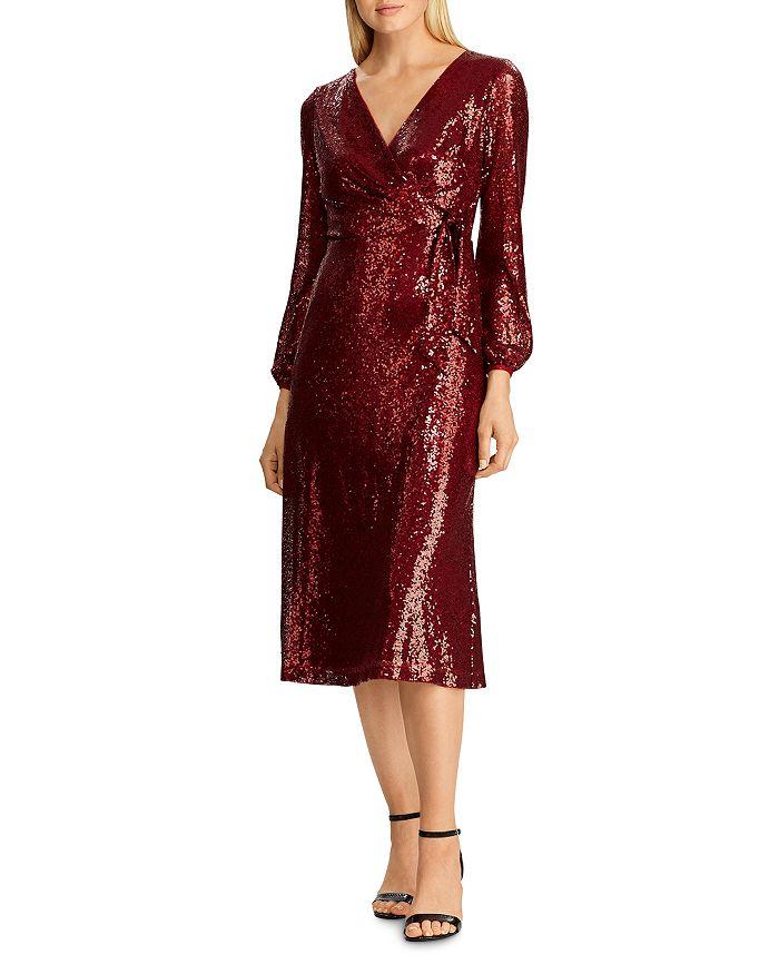 Ralph Lauren - Sequined Faux-Wrap Dress