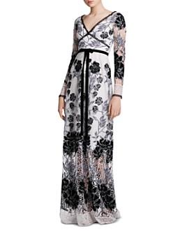 MARCHESA NOTTE - Velvet-Detail Guipure Lace Gown