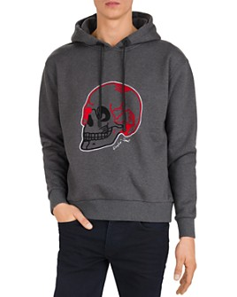 The Kooples - Fleece Skull Embroidery Hoodie