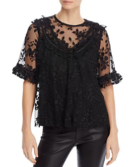 The Kooples - Floral Tulle Keyhole Top