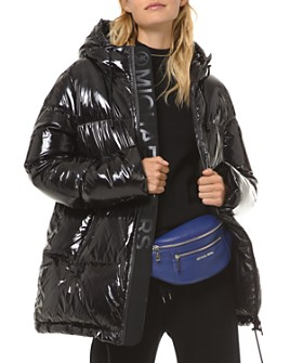 MICHAEL Michael Kors - Hooded & Quilted Ciré Down Jacket
