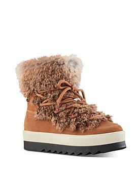 Cougar - Women's Waterproof Fur-Trim Platform Ankle Boots