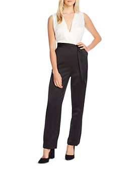 VINCE CAMUTO - Layered-Look Tie-Waist Jumpsuit