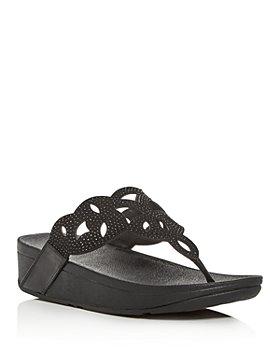 FitFlop - FitFlop Women's Elora Embellished Wedge Platform Thong Sandals