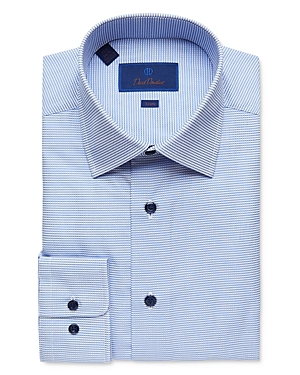 David Donahue Micro Windowpane Trim Fit Dress Shirt-Men